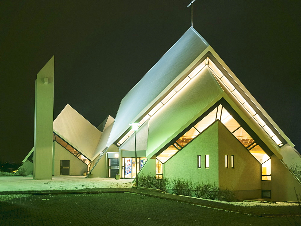 Seltjarnarneskirkja modern architecture church at night, Iceland, Polar Regions