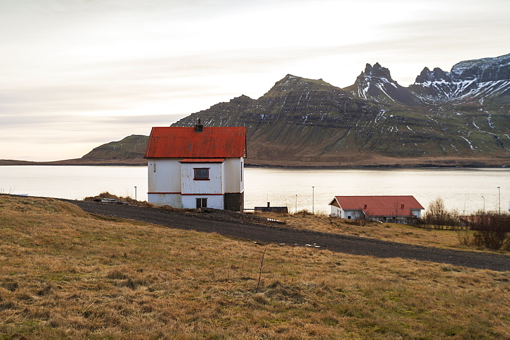 Traditional Icelandic house in Stodvarfjordur by the Fjords in East Iceland, Iceland, Polar Regions - 1300-53