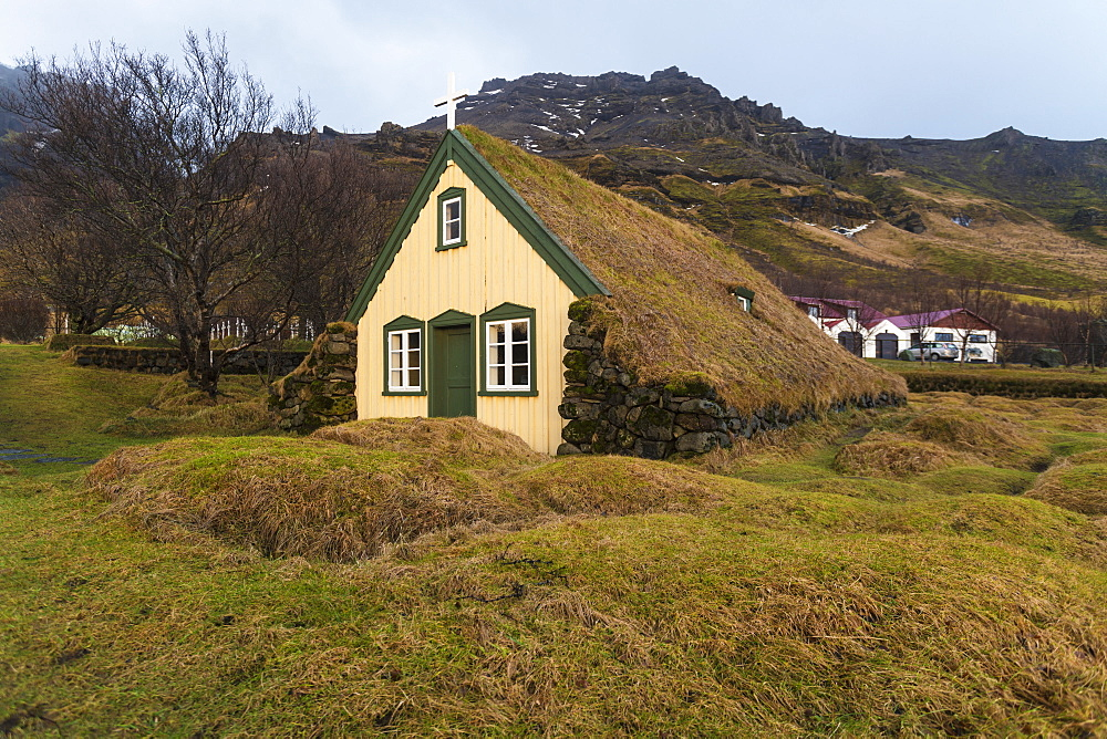 Lutheran Myrdal Turf Church of Hof surrounded by moss, Skaftafell, Iceland, Polar Regions - 1300-61