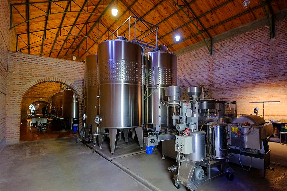 Stainless steel tanks for fermentation in modern Malbec wine factory, San Juan, Argentina, South America, also seen in Mendoza - 1301-45