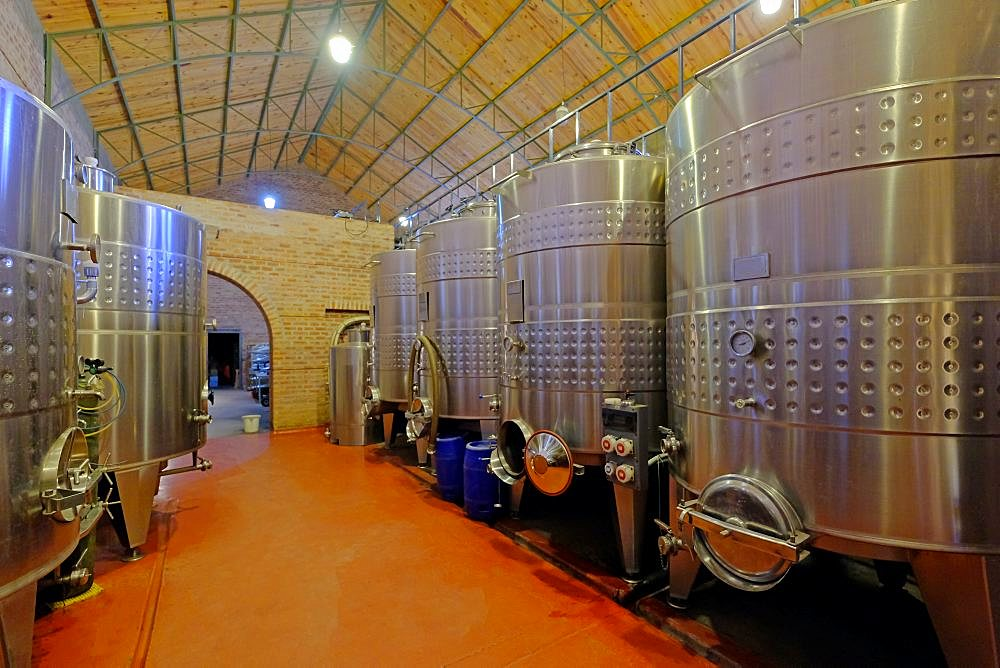 Stainless steel tanks for fermentation in modern Malbec wine factory, San Juan, Argentina, South America, also seen in Mendoza - 1301-46