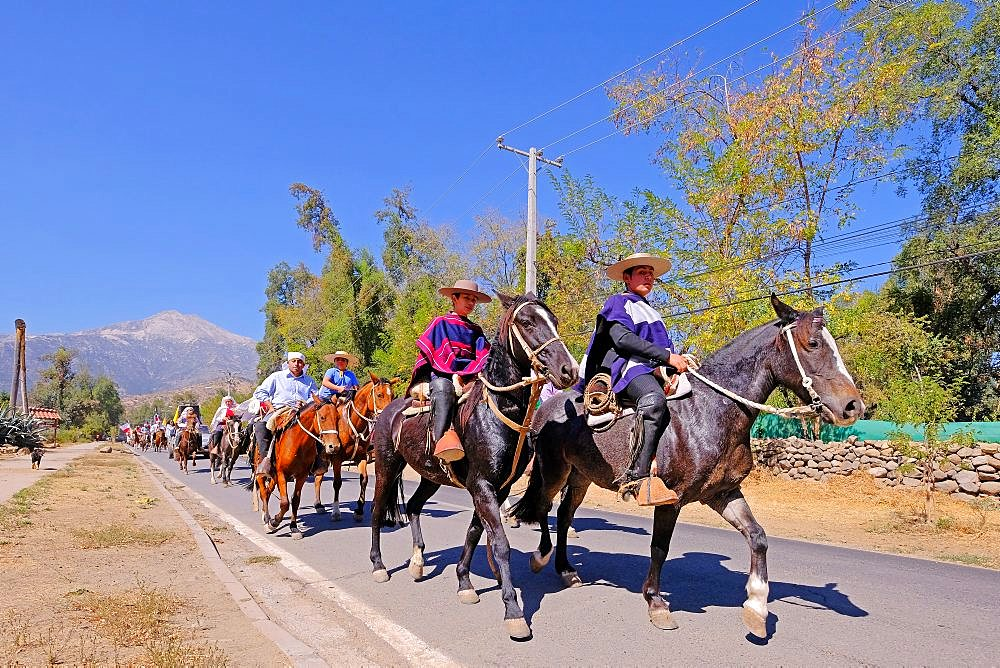 Riders at the feast Fiesta De Cuasimodo, a traditional festival one week after Easter, Pirque, Santiago De Chile, Chile - 1301-75