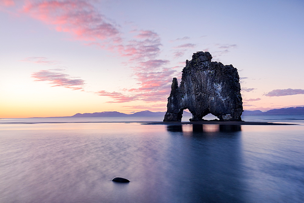 Hvtserkur, a dragon shapped rock in North West Iceland at Sunset (around midnight in summer) - 1304-1