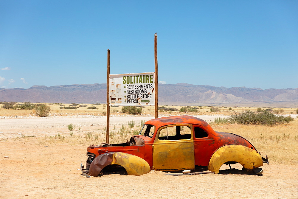 Solitaire is a cool town in the middle of Namibia, full of rusting cars, bikes and disused fuel pumps, Solitaire, Namibia, Africa - 1304-73