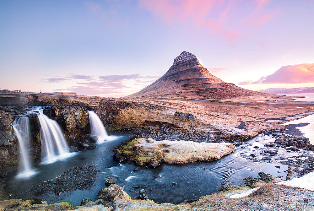 Kirkjufellfoss at sunrise, Iceland, Polar Regions - 1304-9