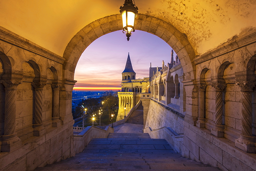 Fisherman's Bastion with dramatic sunrise, Buda Castle Hill, Budapest, Hungary, Europe