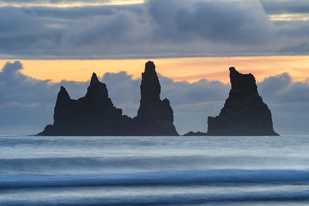 Detail of sea stacks of Reynisdrangar at sunset, Vik i Myrdal, South Iceland,