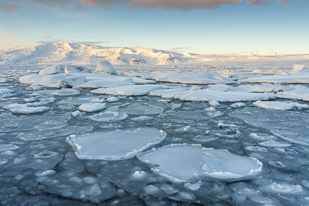 Ice formations in winter at Jokulsarlon lagoon, Jokulsarlon, South Iceland
