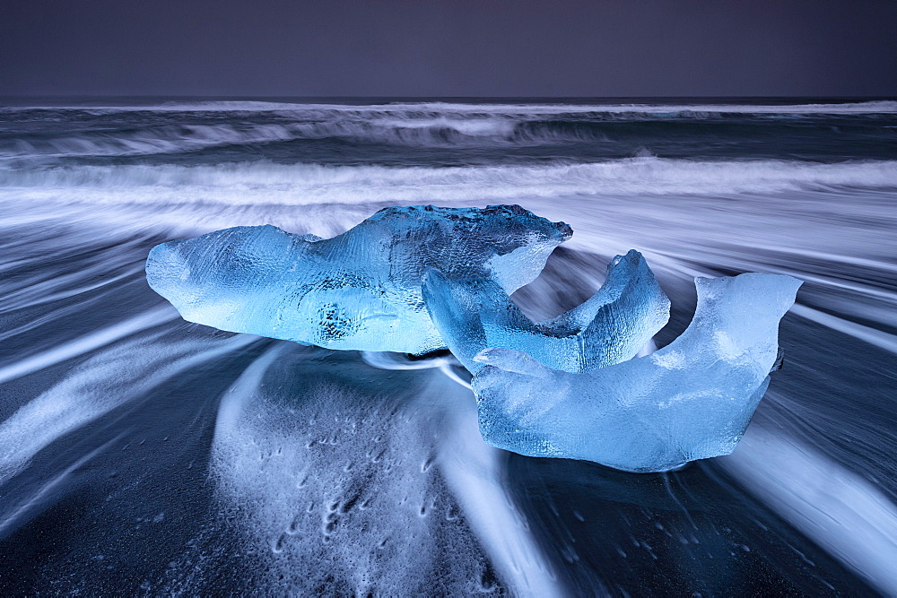 Ice formations on black beach at Jokulsarlon, Iceland, Polar Regions
