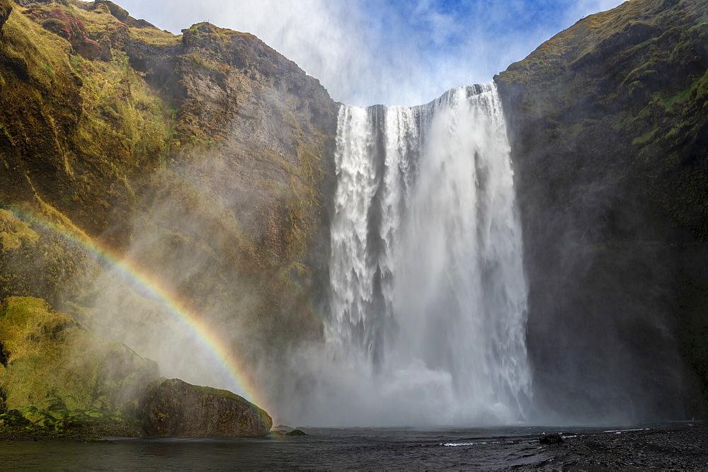 Skogafoss waterfall with a rainbow, Skogar, East Iceland, Iceland, Polar Regions