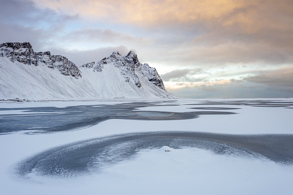 Winter scene at Vestrahorn, Stokksnes, Iceland, Polar Regions