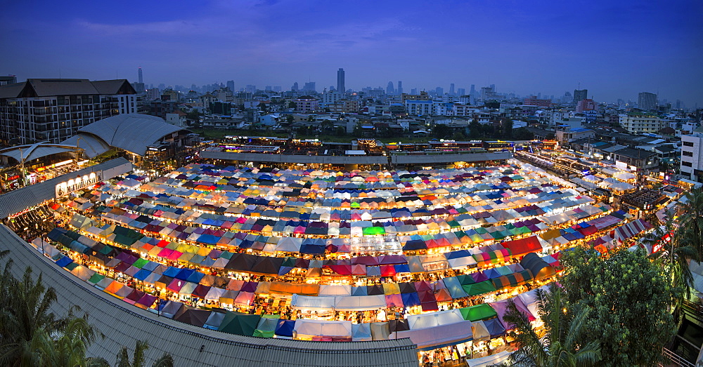 Panoramic view of multi-colored tents at the Ratchada train night market, Bangkok, Thailand, Southeast Asia, Asia