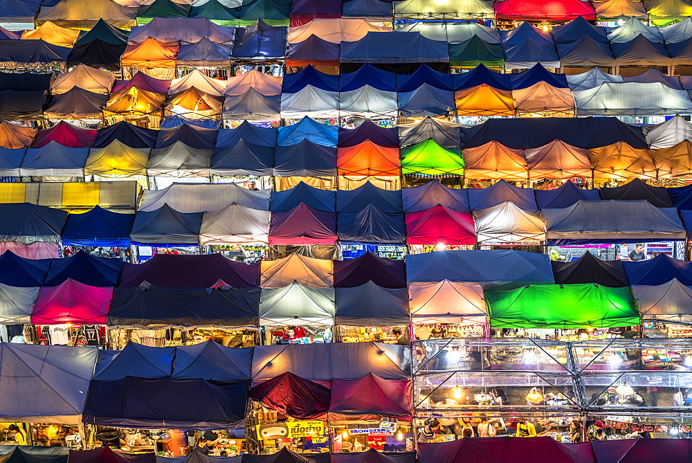 Multi-colored tents at the Rod Fai night market Ratchada, Bangkok, Thailand, Southeast Asia, Asia