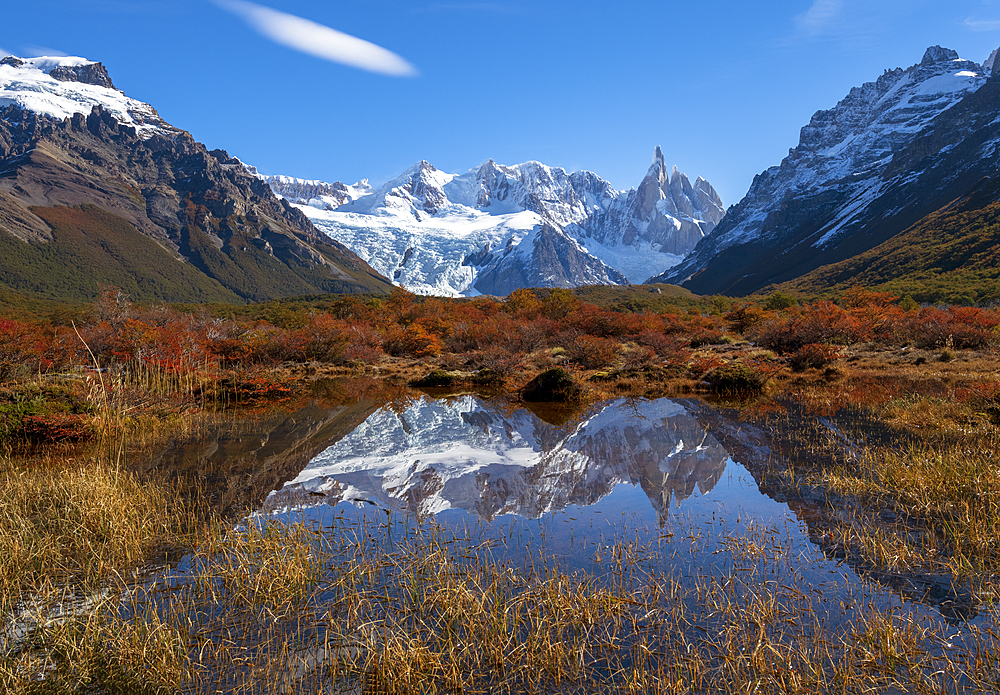 Autumnal colours in Los Glaciares National Park with reflections of Cerro Torro, UNESCO World Heritage Site, Santa Cruz Province, Argentina, South America