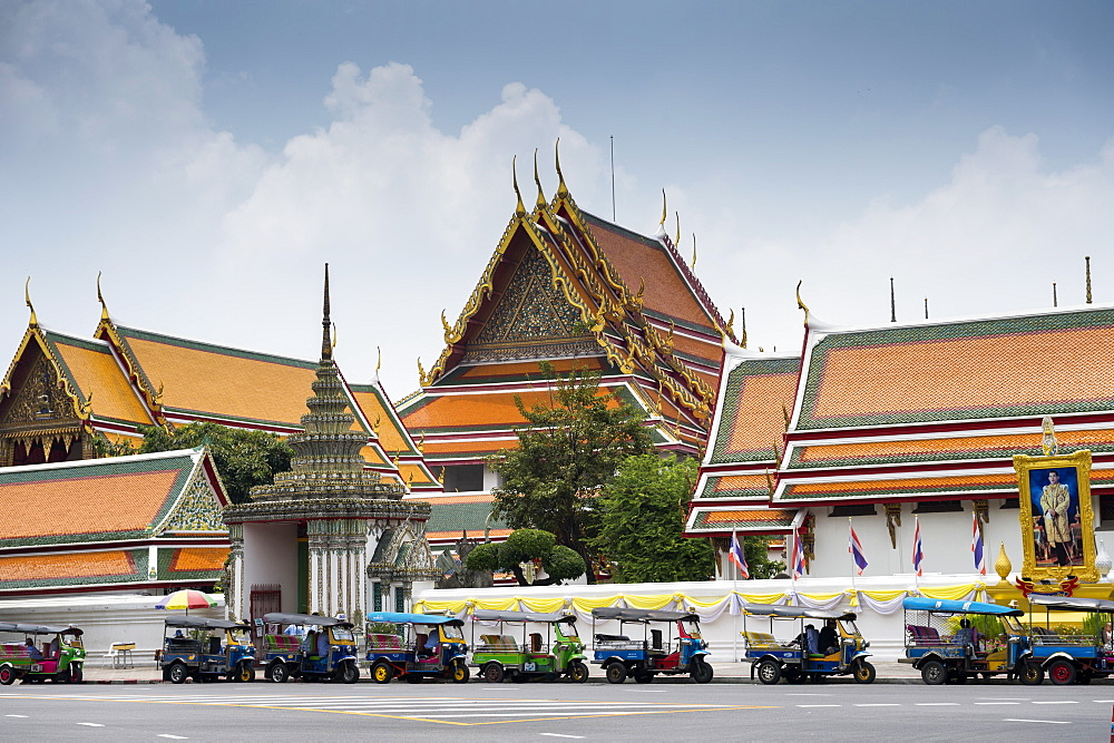Tuk tuks parked outside The Grand Palace in Bangkok, Thailand, Southeast Asia, Asia