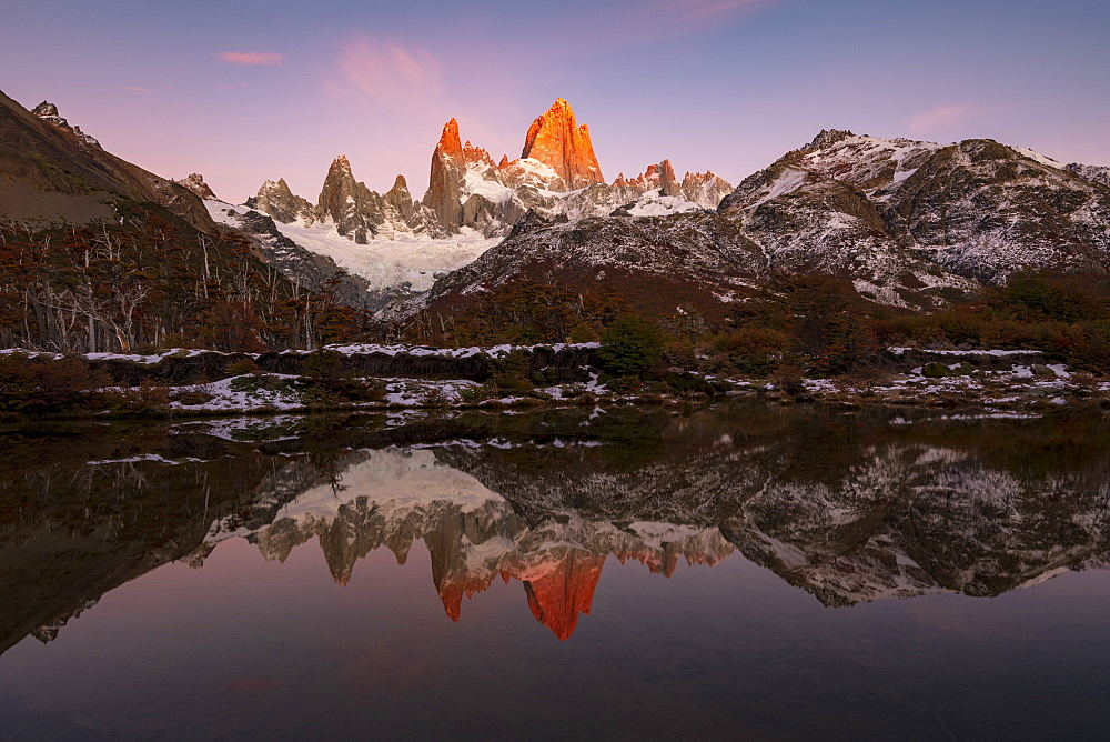 Fitz Roy and Cerro Torre with incredible sunrise, El Chaltén, Santa Cruz Province, Patagonia, Argentina, South America
