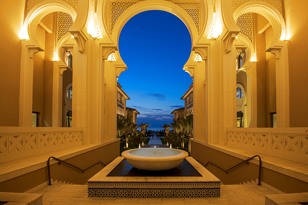 Arabian architecture at night, Saadiyat island, Abu Dhabi, United Arab Emirates, Middle East.