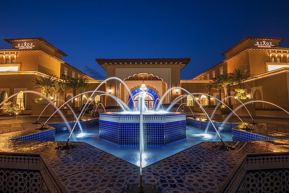 Rixos Saadiyat Island at night, Abu Dhabi, United Arab Emirates, Middle East.