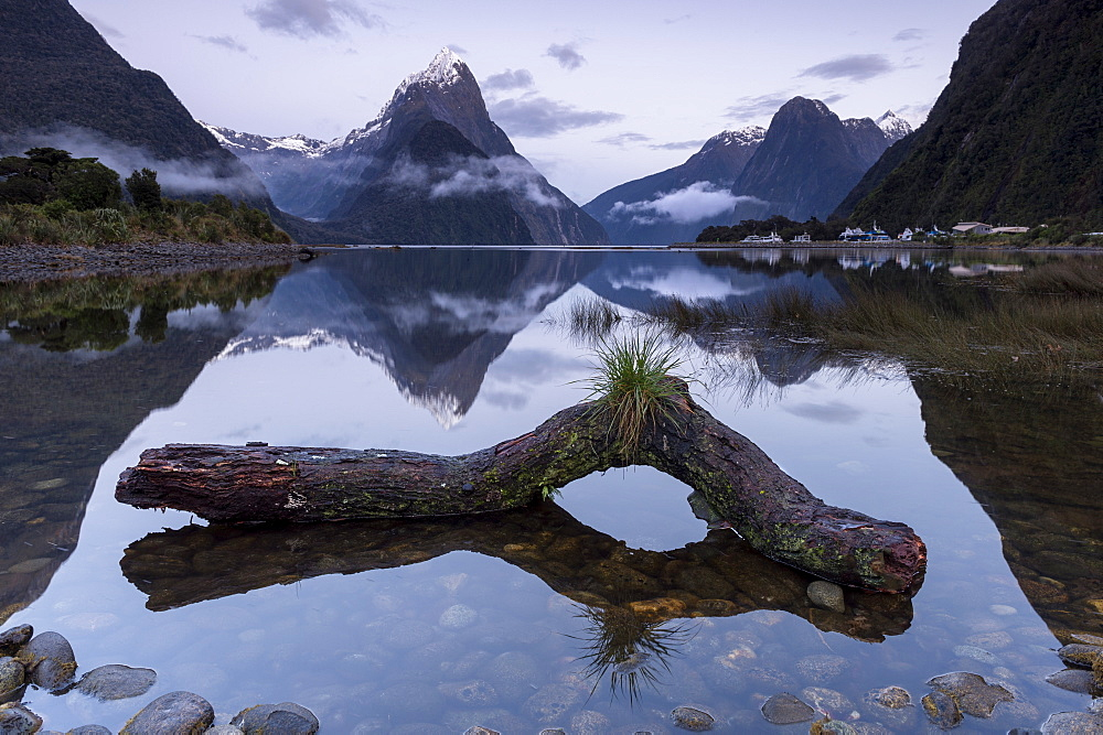 Low cloud below Mitre Peak, Milford Sound, Fiordland National Park, UNESCO World Heritage Site, South Island, New Zealand, Pacific