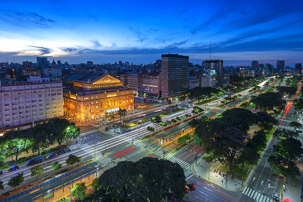 9 de Julio Avenue at night, Buenos Aires, Argentina, South America