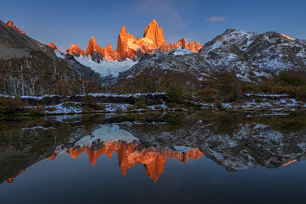 Mountain range with Cerro Fitz Roy at sunrise reflected, Los Glaciares National Park, UNESCO World Heritage Site, El Chalten, Patagonia, Argentina, South America