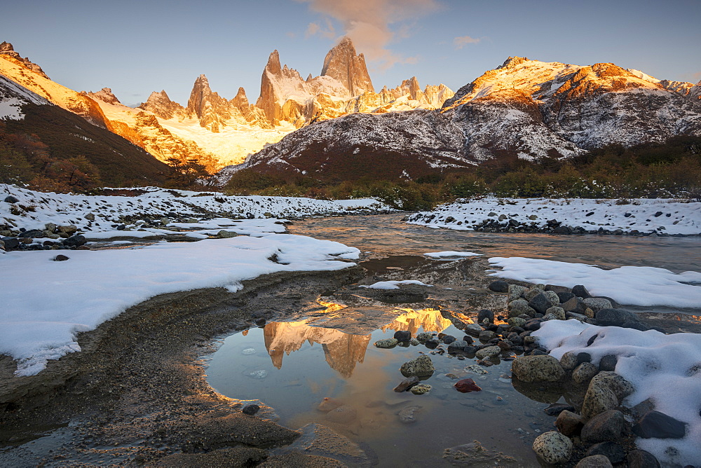 Reflections of Mount Fitz Roy and Cerro Torre in autumn with covering of snow, Los Glaciares National Park, UNESCO World Heritage Site, Patagonia, Argentina, South America