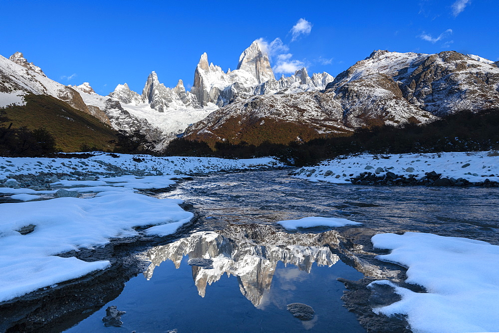 Snow scene of Mount Fitz Roy and Cerro Torre, Los Glaciares National Park, UNESCO World Heritage Site, Patagonia, Argentina, South America - 1306-347