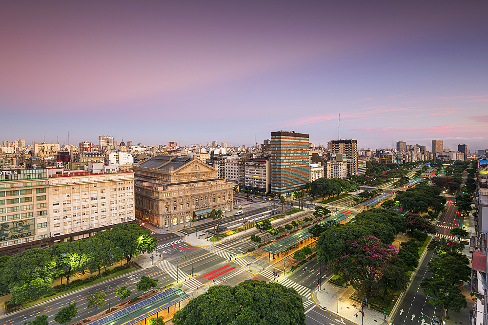 Teatro Colon at sunrise on 9 de Julio Avenue, Buenos Aires, Argentina, South America