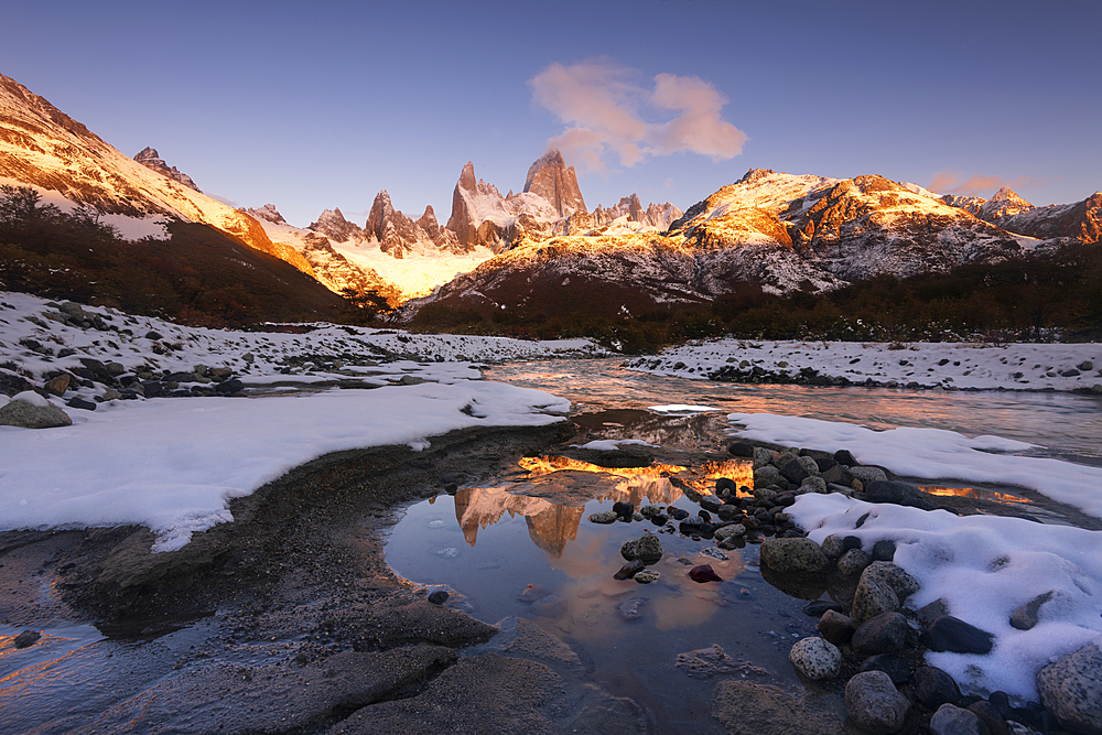 The Mountain range with Cerro Fitz Roy reflected, Los Glaciares National Park, UNESCO World Heritage Site, El Chalten, Patagonia, Argentina, South America
