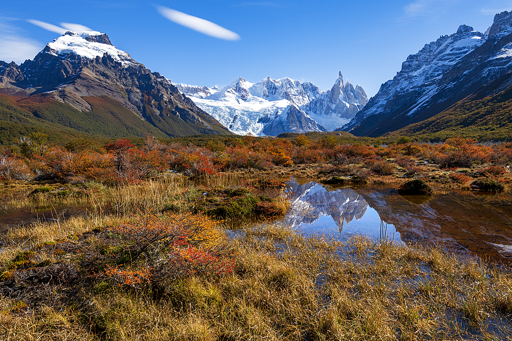 A typical Patagonian landscape with Mount Fitz Roy, El Chalten, Los Glaciares National Park, UNESCO World Heritage Site, Patagonia, Argentina, South America - 1306-362