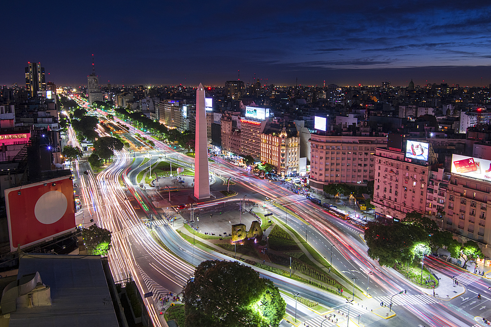 Elevated city view with 9 de Julio Avenue, Buenos Aires, Argentina, South America - 1306-368