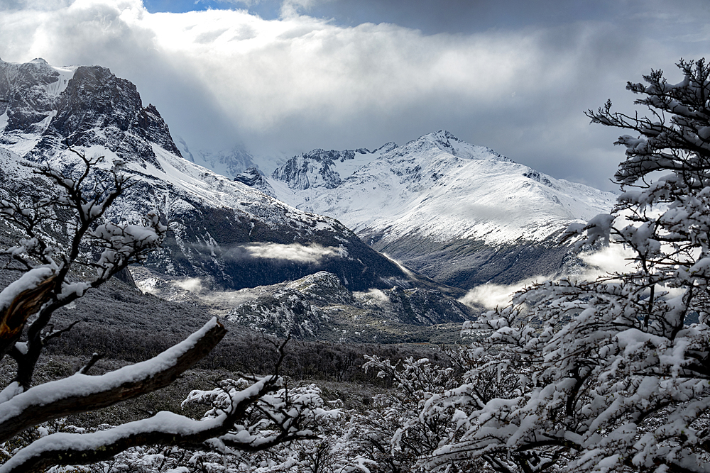 Winter scene at Piedras Blancas Glacier, Los Glaciares National Park, UNESCO World Heritage Site, El Chalten, Patagonia, Argentina, South America
