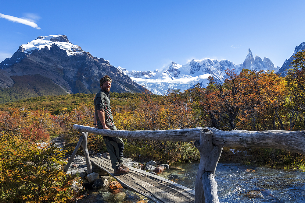 Tourist at El Chalten with Cerro Torre, El Chalten, Patagonia, Argentina, South America