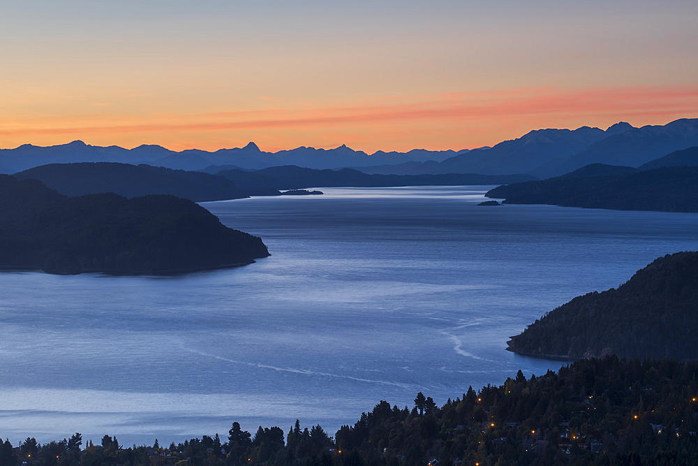 Intense sunset over lake Nahuel Huapi, San Carlos de Bariloche, Patagonia, Argentina, South America