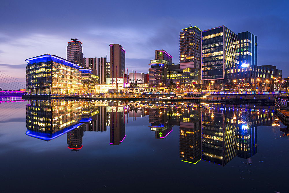 MediaCity UK at dusk, Salford Quays, Manchester, England, United Kingdom, Europe