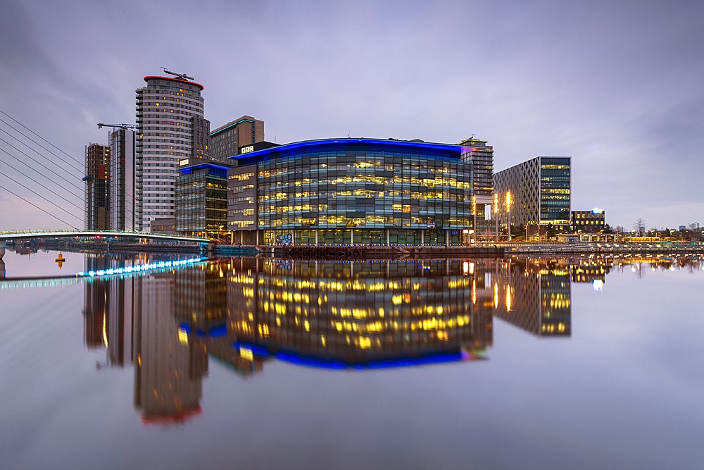 MediaCity UK reflected, Salford Quays, Manchester, England, United Kingdom, Europe