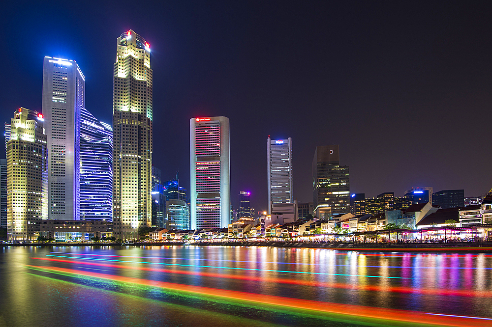 Clarke Quay with boat light trails at night, Singapore, Southeast Asia, Asia - 1306-469