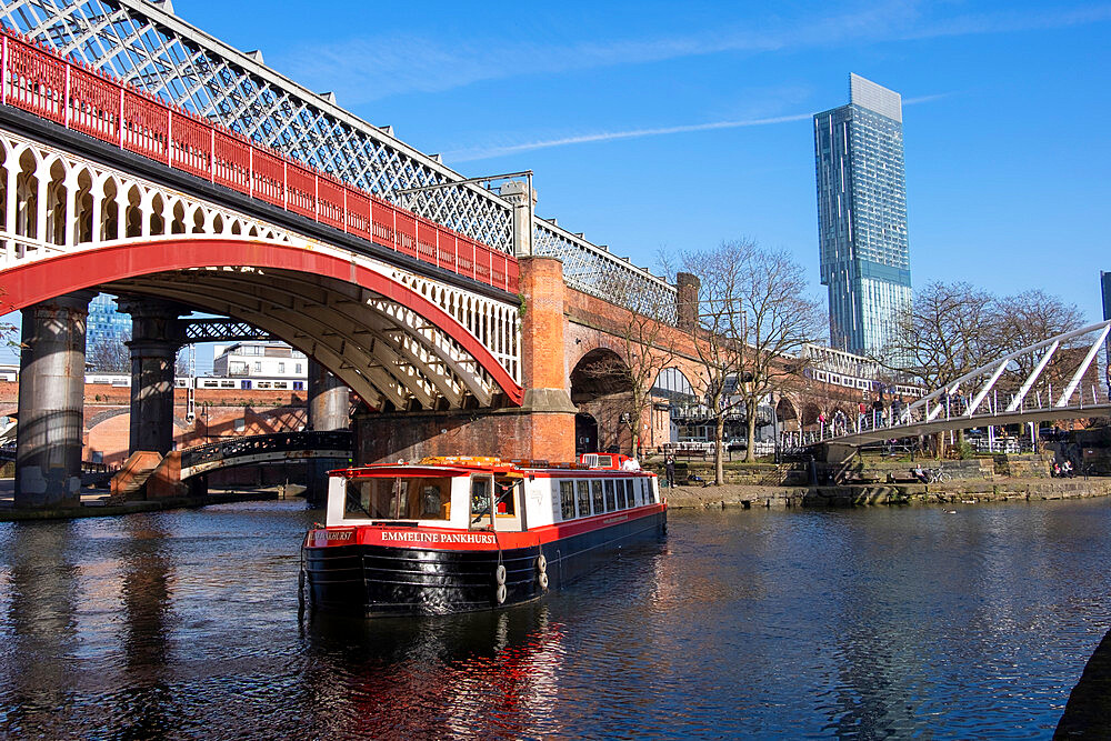 The Castlefield basin, and Beetham Tower, Castlefield, Manchester.