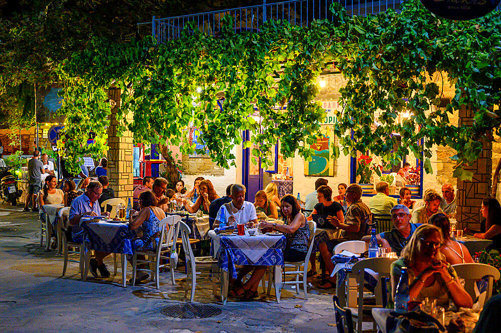 Evening view of traditional Greek restaurant, Parga, Preveza, Greece