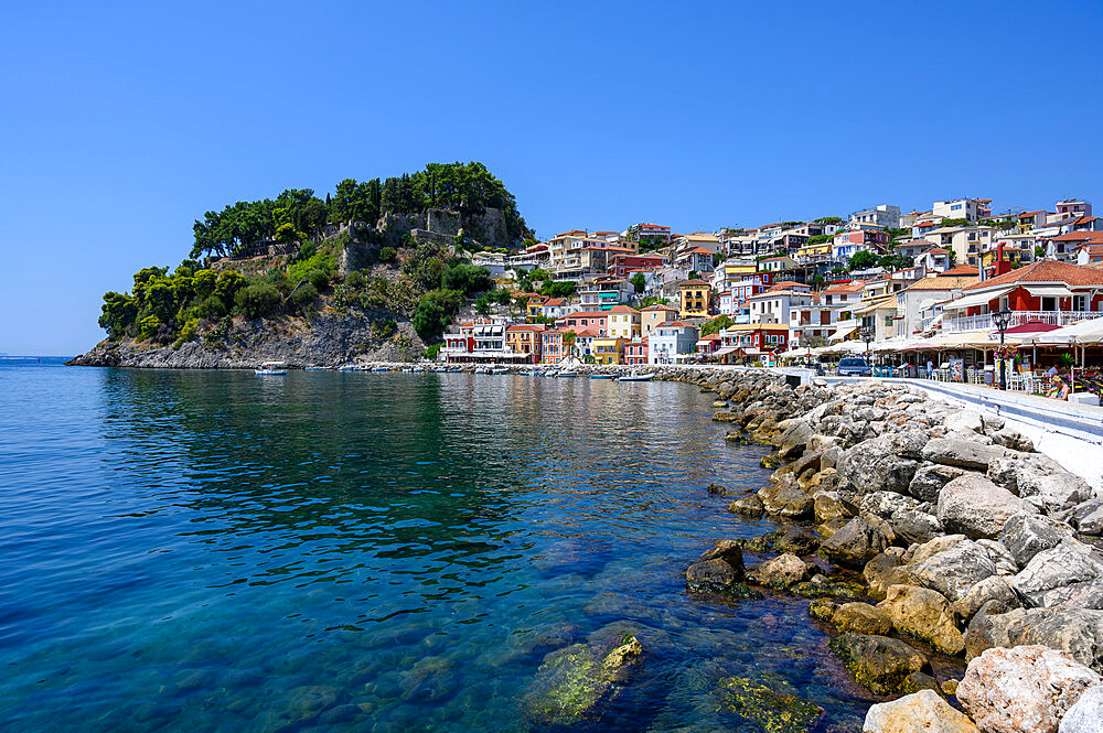 Parga castle and waterfront, Parga, Preveza, Greece