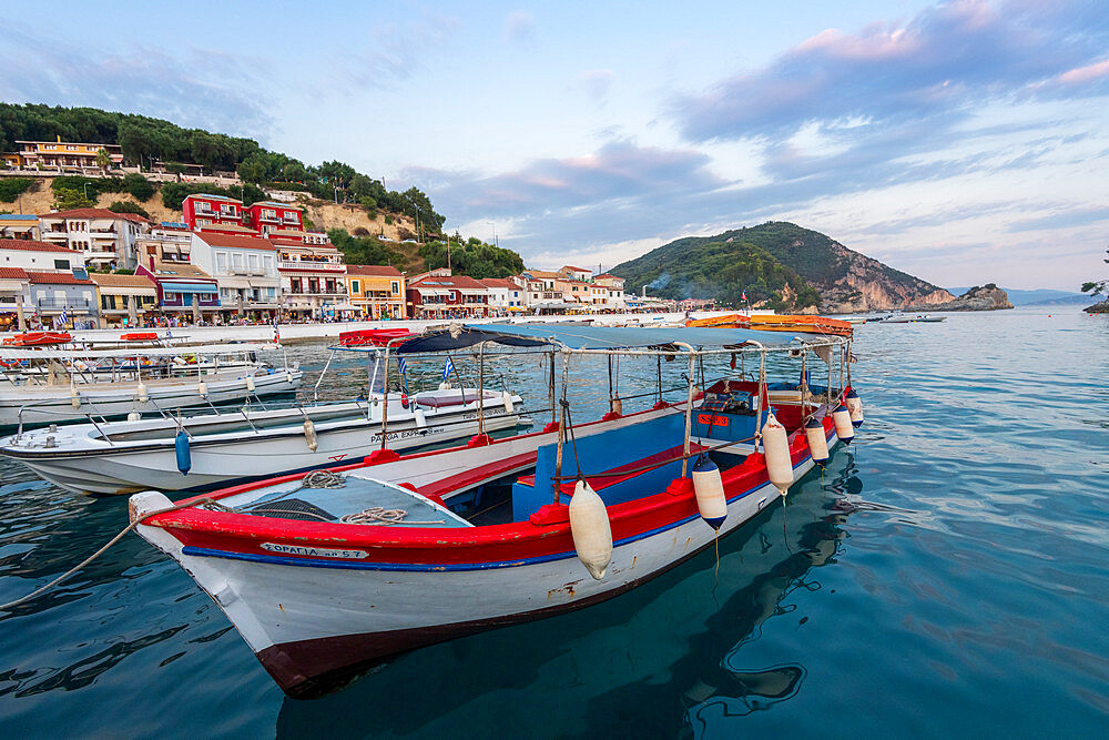 Tourist boats and the town of Parga in the background, Parga, Preveza, Greece - 1306-538