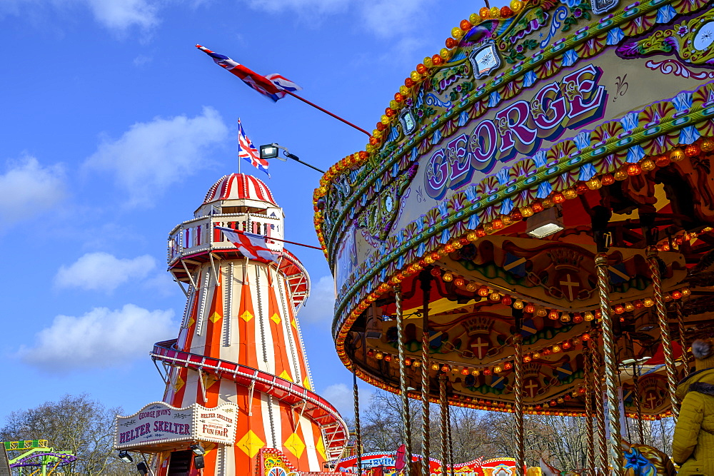 View of helter skelter ride, Winter Wonderland Christmas Fair, Hyde Park, London