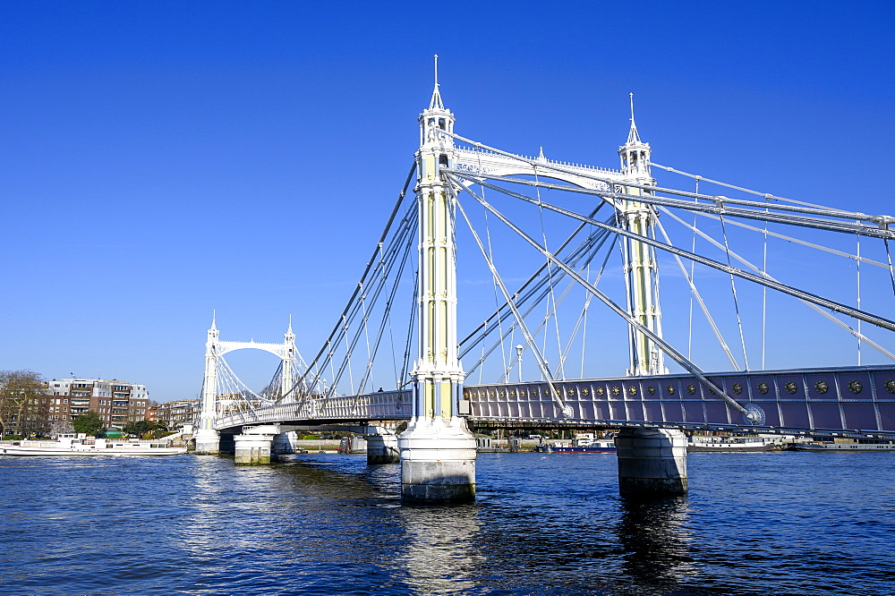Albert Bridge and River Thames, Chelsea, London, England, United Kingdom, Europe