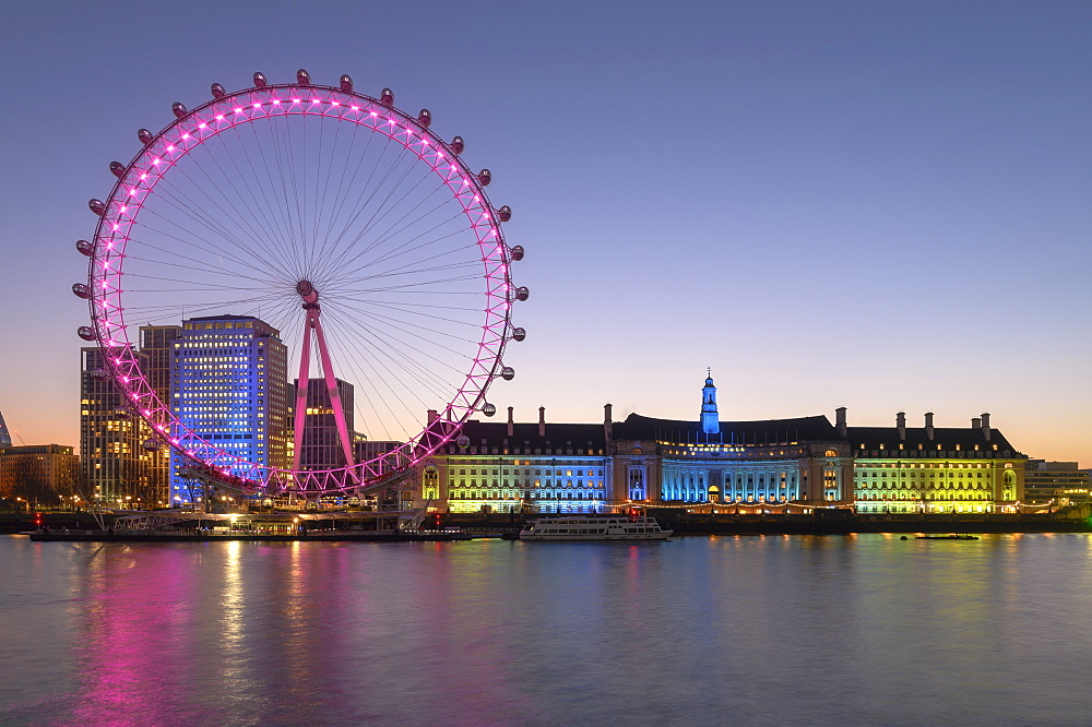 Millennium Wheel (London Eye), Old County Hall, River Thames, South Bank, London, England,