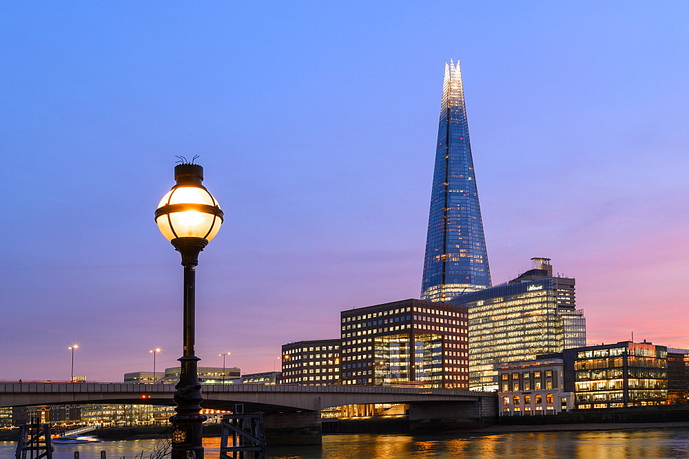 The Shard with old lampost at sunset, London, England, United Kingdom, Europe