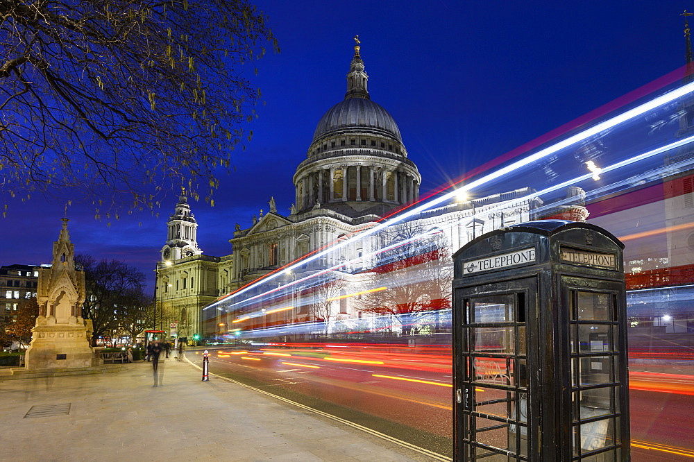 St. Paul???s Cathedral at dusk with traffic trails, London, England,