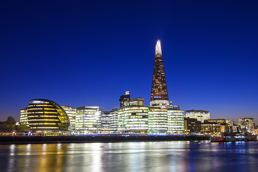 The Shard and City Hall at night by River Thames, Southwark, London, England, United Kingdom, Europe