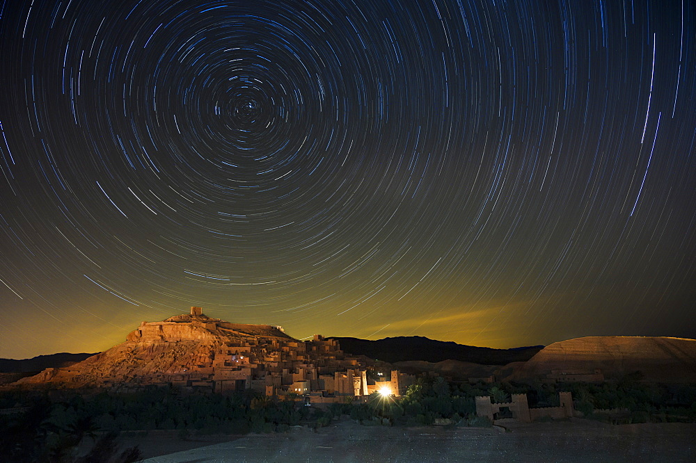 Star trails above The Kasbah Ait-Benhaddou, UNESCO World Heritage Site, Morocco, North Africa, Africa