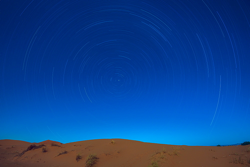 Star trails above the Sahara Desert, Morocco, North Africa, Africa