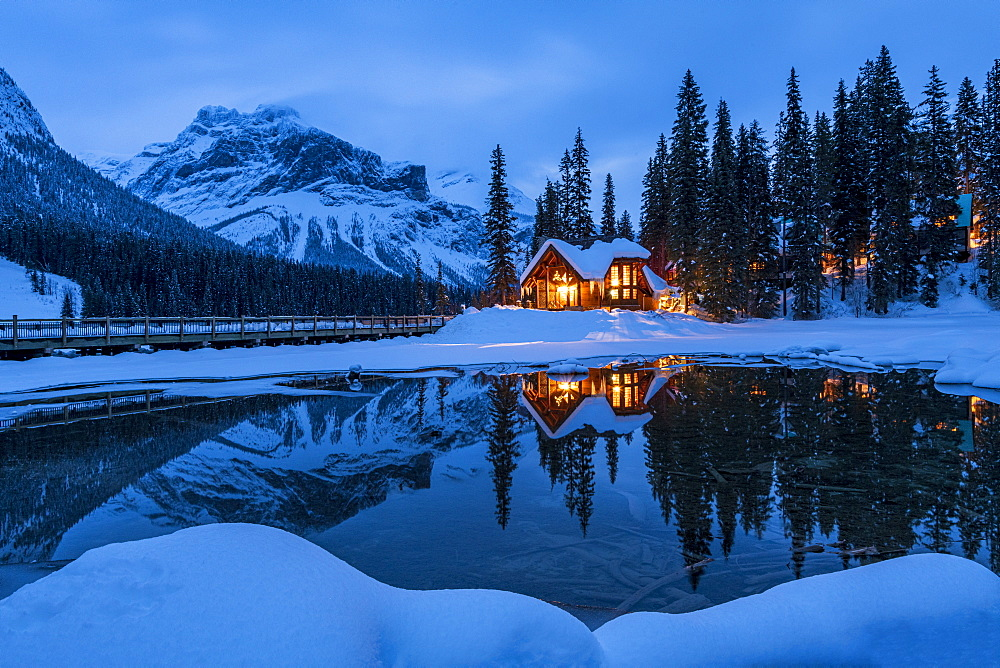 Cilantro on the Lake at Emerald Lake in winter, Emerald Lake, Yoho National Park, UNESCO World Heritage Site, British Columbia, Canadian Rockies, Canada, North America